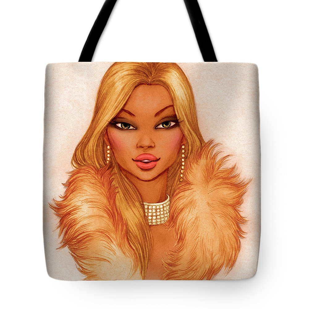 People Tote Bag featuring the digital art Glamour Girl Portrait Blond by Tatarnikova