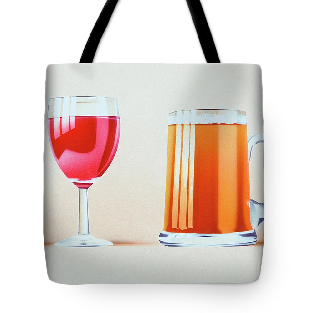 White Background Tote Bag featuring the digital art Glass Of Red Wine, Cork, Glass Of Beer by Dorling Kindersley