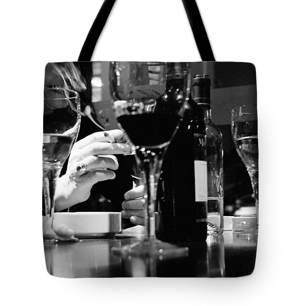 Smoking Tote Bag featuring the photograph Glasses Of Wine by Matt Carr