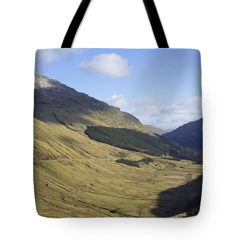 Glen Tote Bag featuring the photograph glen in highlands known as the Rest and be Thankful by Victor Lord Denovan