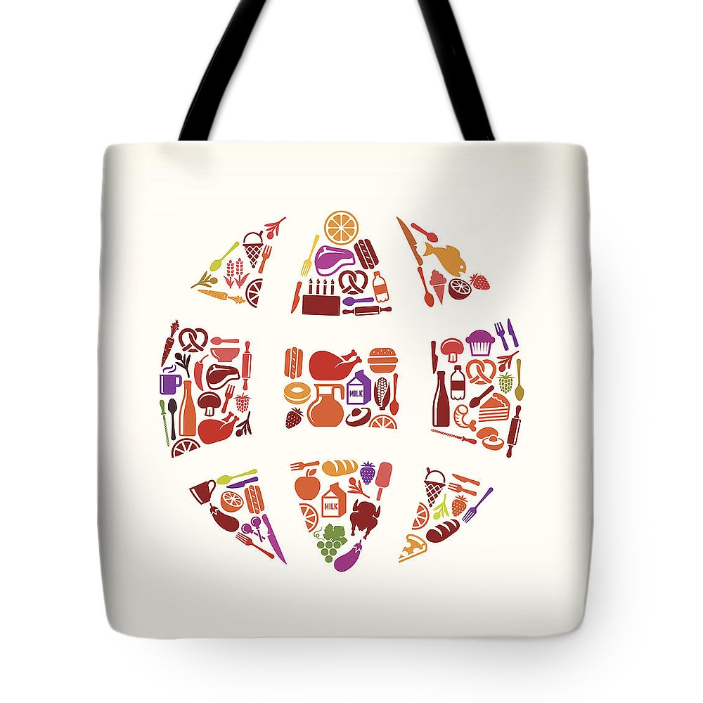 Chicken Meat Tote Bag featuring the digital art Globe Food & Drink Royalty Free Vector by Bubaone