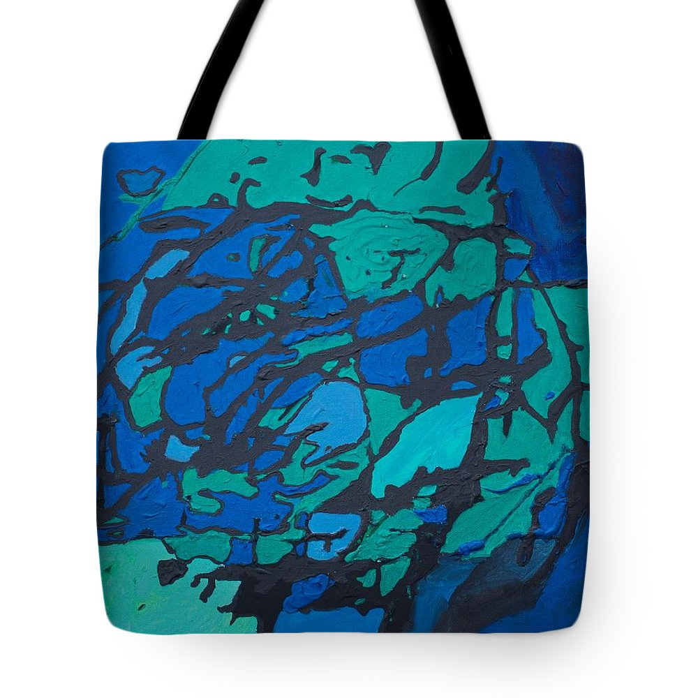 Gloomy Tote Bag featuring the painting Gloomy Blues by Sonye Locksmith