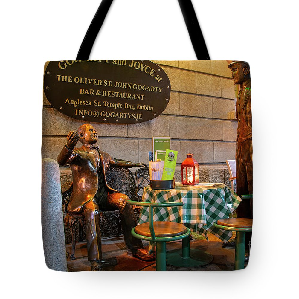 Dublin Tote Bag featuring the photograph Gogarty And Joyce Statues Two by Bob Phillips