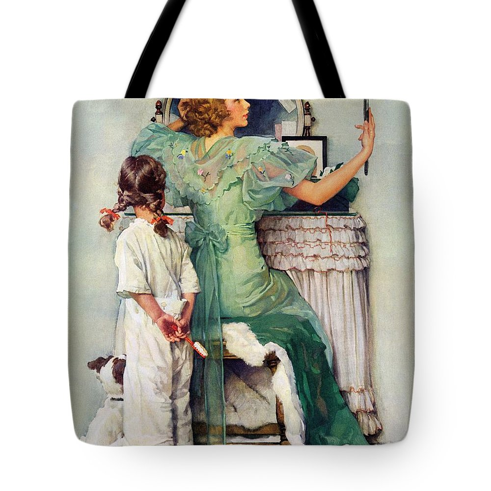 Dressing Tables Tote Bag featuring the drawing Going Out by Norman Rockwell