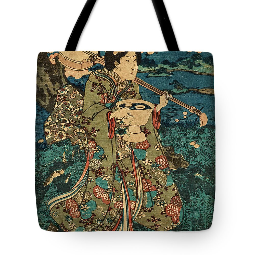 Party Tote Bag featuring the painting Going To A Cherry Blossom Viewing Party by Utagawa Kunisada