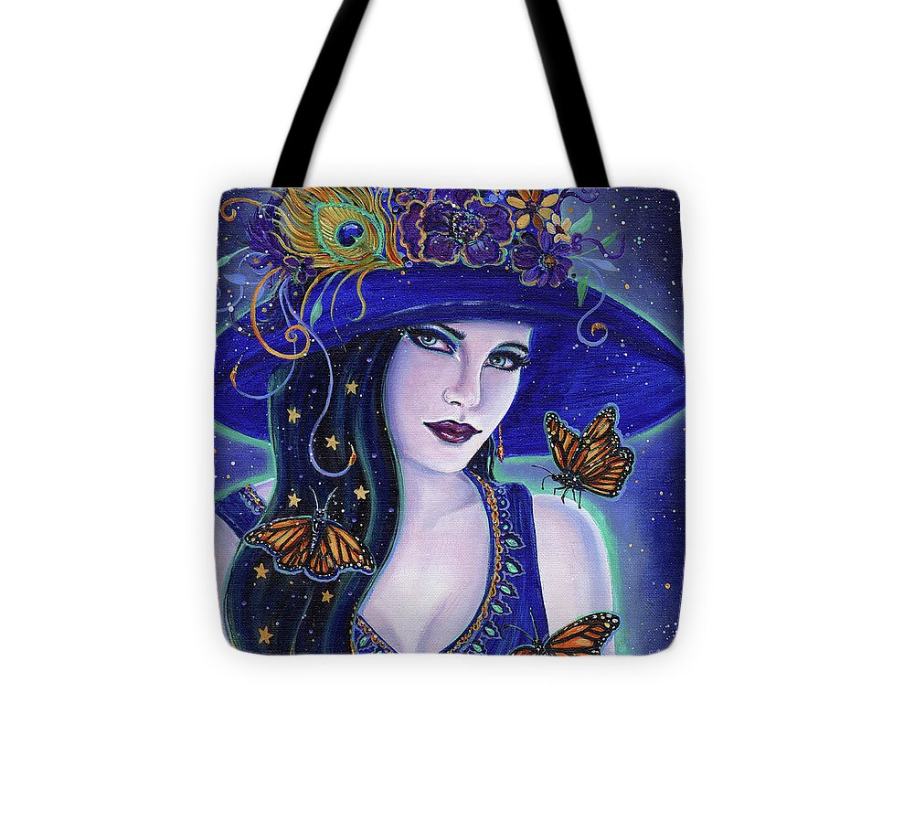 Halloween Witch Tote Bag featuring the painting Gold Dust Witch by Renee Lavoie