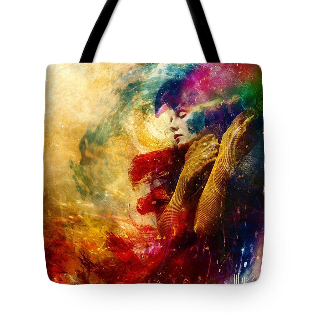 Surreal Tote Bag featuring the digital art Golden Gloom by Mario Sanchez Nevado