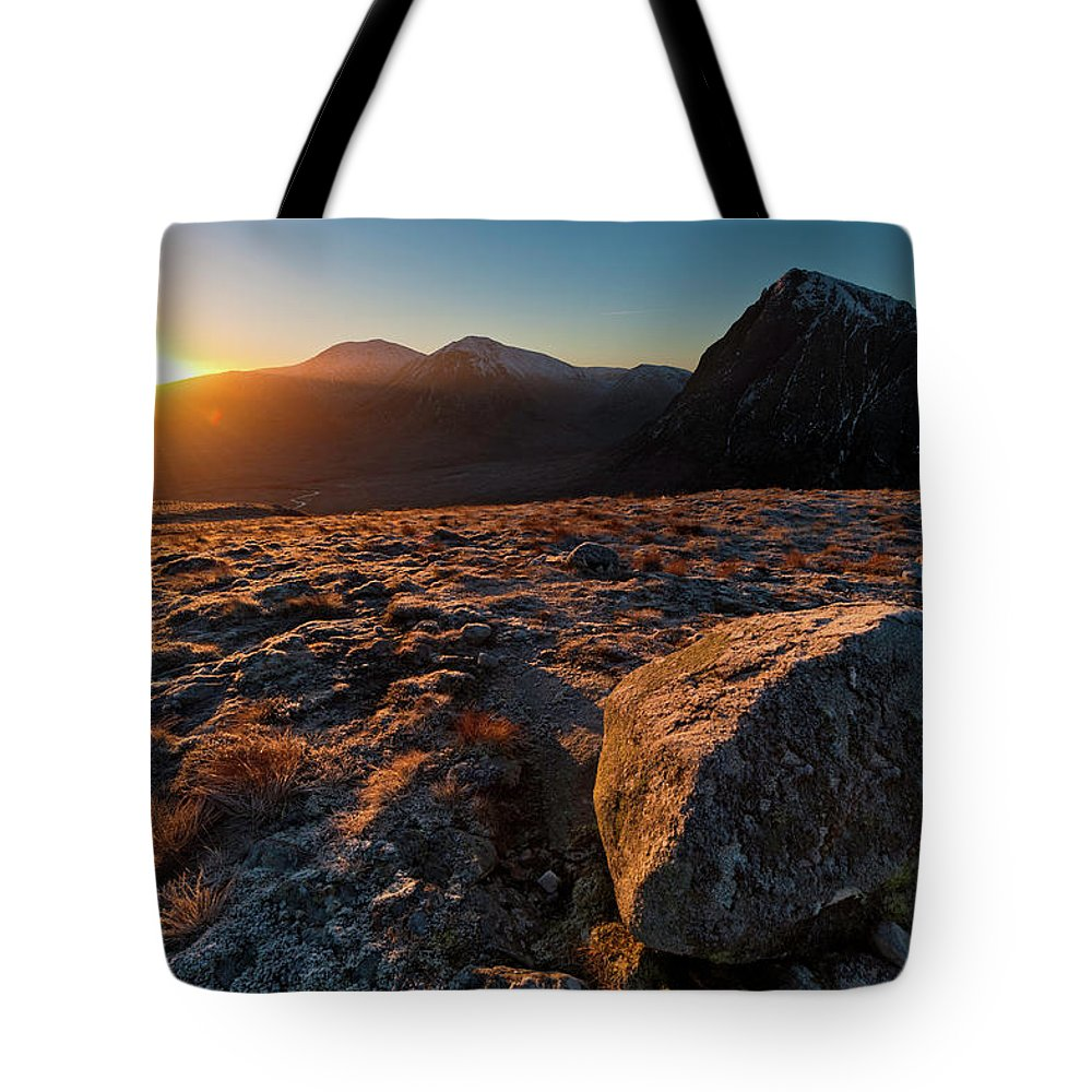 Rannoch Moor Tote Bag featuring the photograph Golden Highland Dawn Glencoe Mountain by Fotovoyager