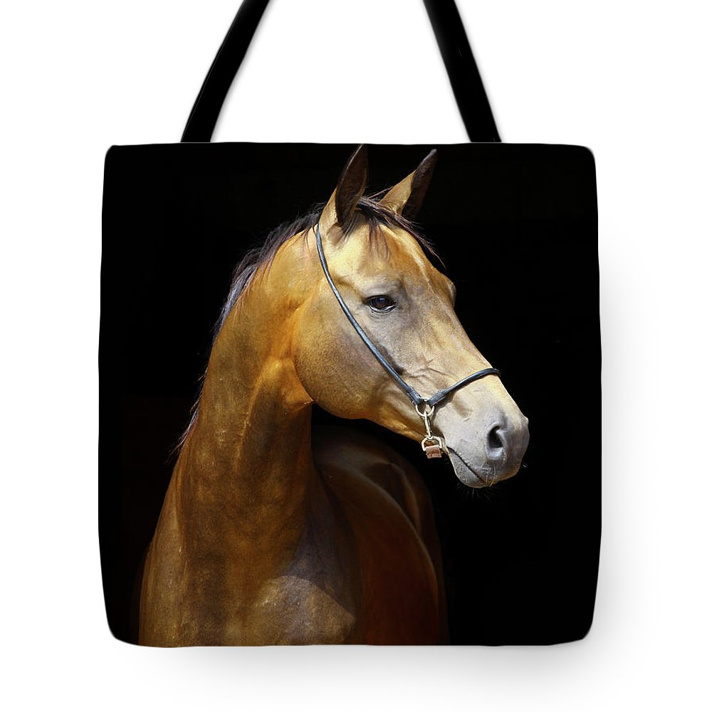 Horse Tote Bag featuring the photograph Golden Horse by Photographs By Maria Itina