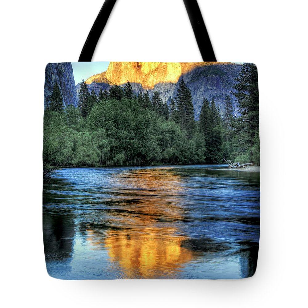 Scenics Tote Bag featuring the photograph Golden Light On Half Dome by Mimi Ditchie Photography