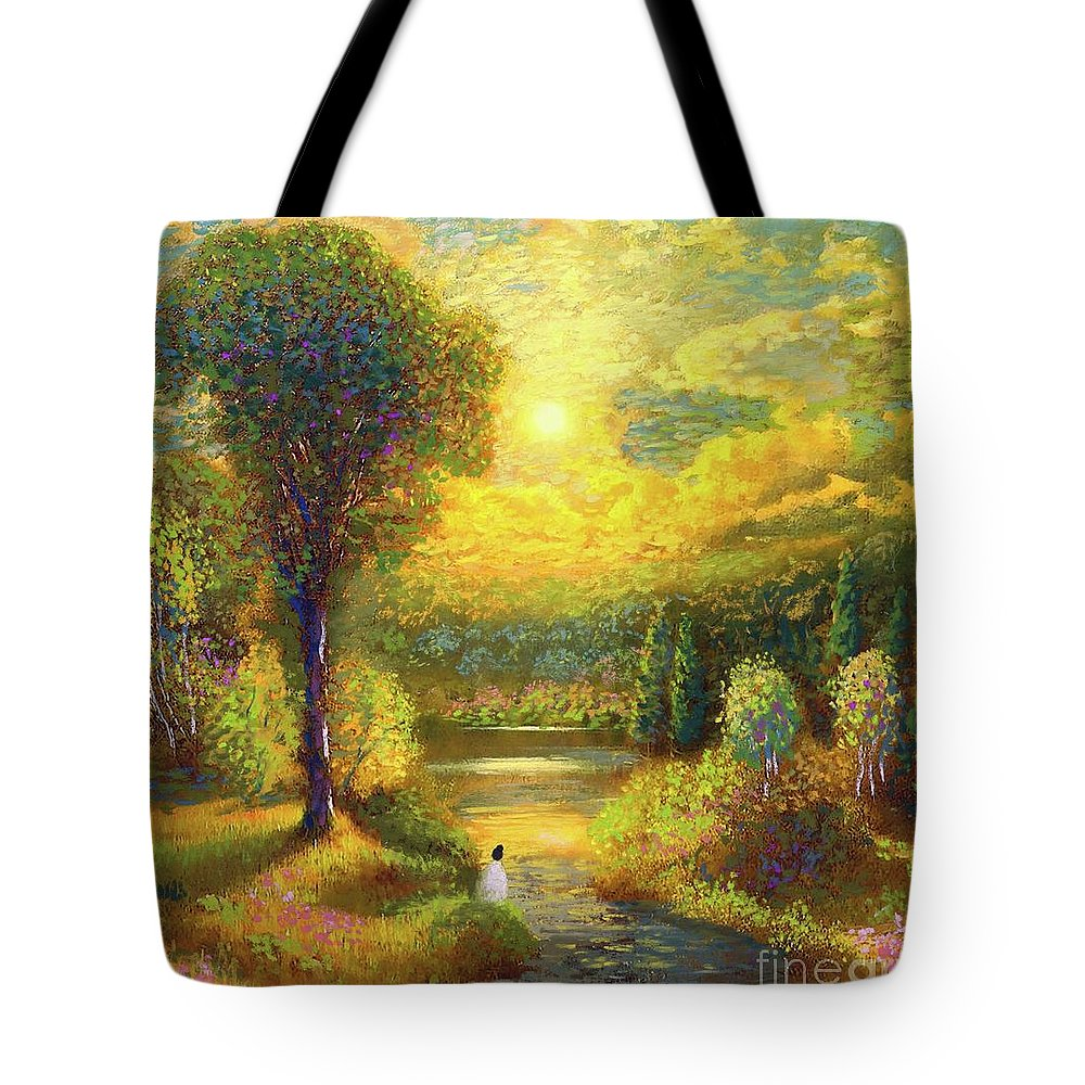 Meditation Tote Bag featuring the painting Golden Peace by Jane Small