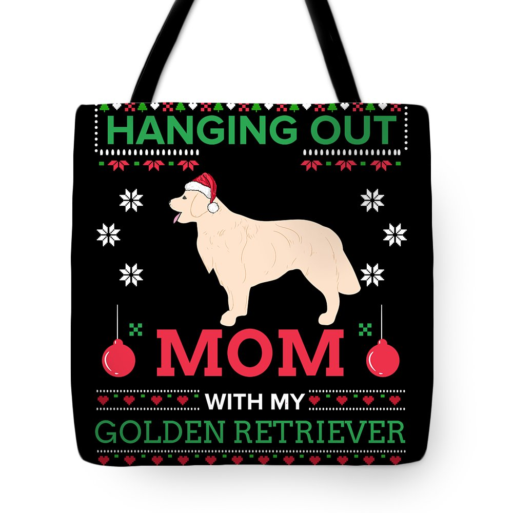 Golden-retriever Tote Bag featuring the digital art Golden Retriever Ugly Christmas Sweater Xmas Gift by TeeQueen2603
