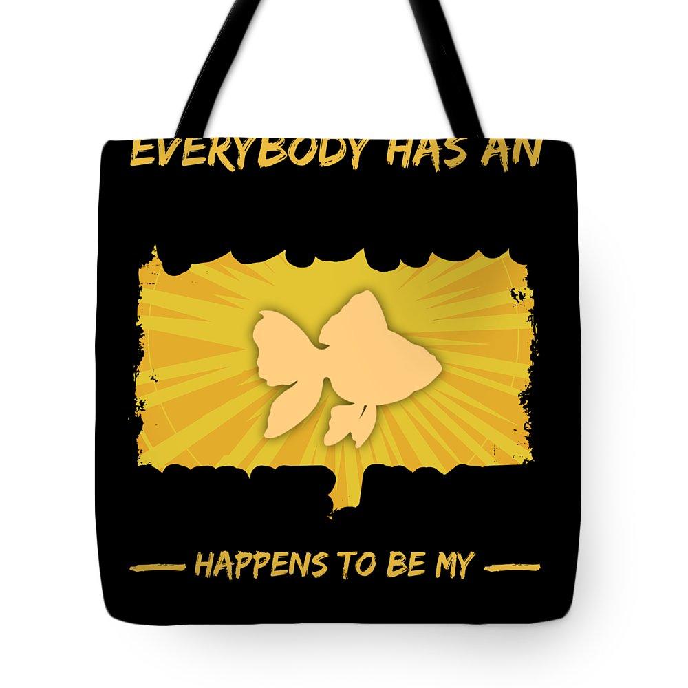 Animal-coffee-mug Tote Bag featuring the digital art Goldfish Addiction Funny Farmer Animal Lover by Passion Loft