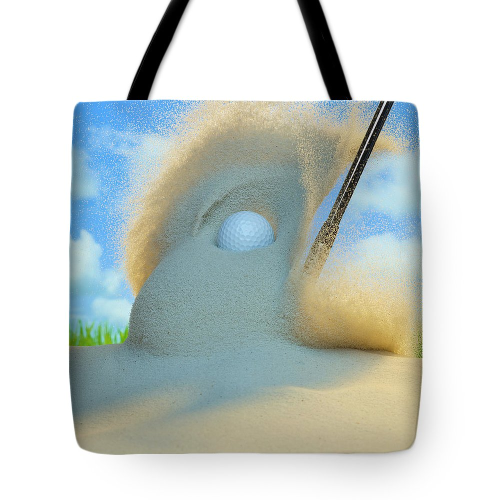 Drive Tote Bag featuring the photograph Golf Ball Being Driven Out Of A Sand by Don Farrall