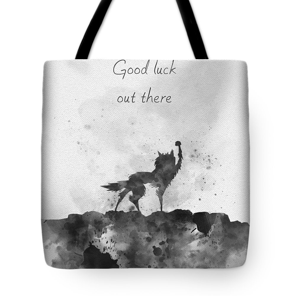 Fantastic Mr Fox Tote Bag featuring the mixed media Good Luck Out There Black And White by Rebecca Jenkins