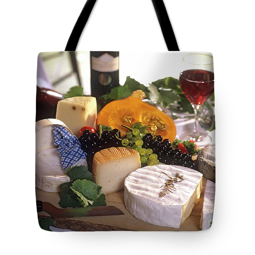 Cheese Tote Bag featuring the photograph Gourmet Cheese Plate With Red Wine by Clu