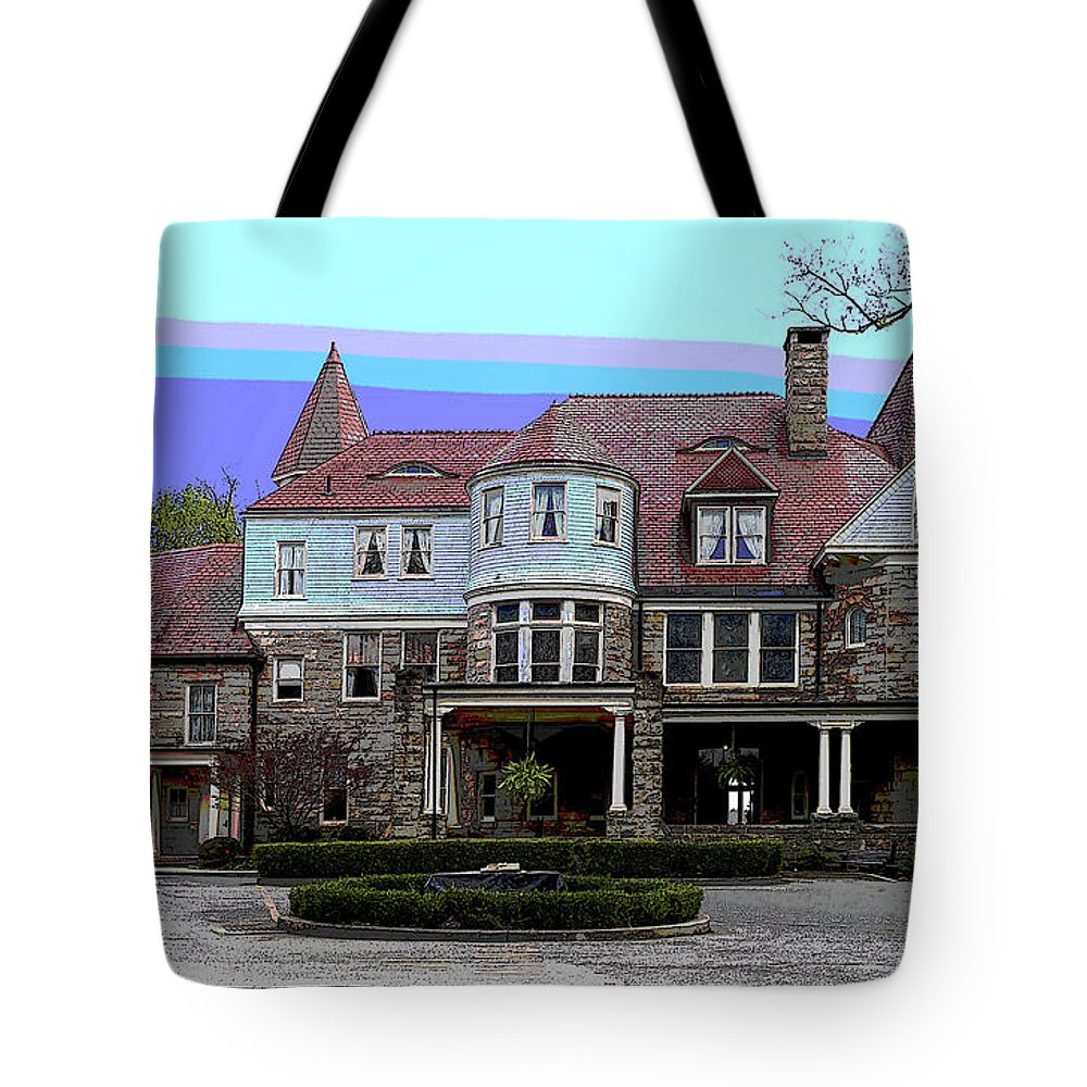 America Tote Bag featuring the mixed media Graceland Mansion by Charles Shoup