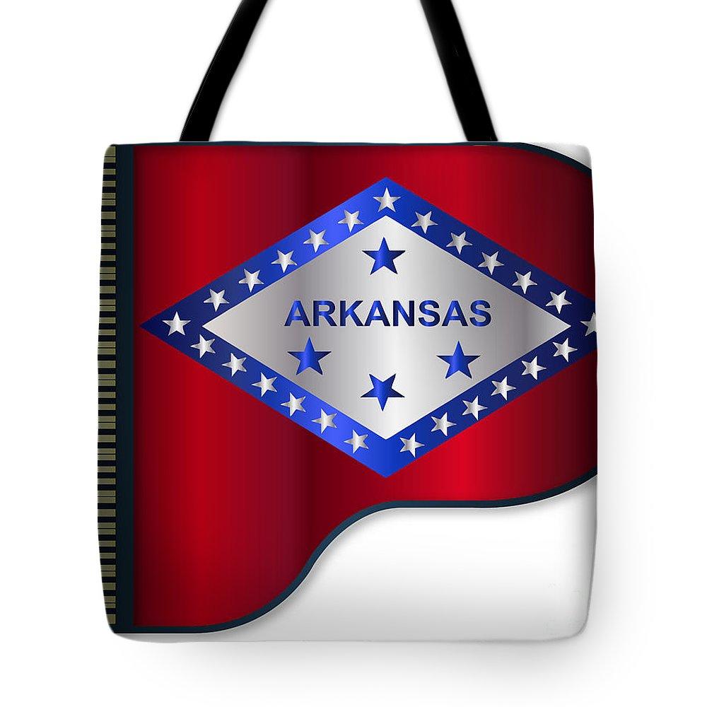 Grand Tote Bag featuring the digital art Grand Piano Arkansas Flag by Bigalbaloo Stock