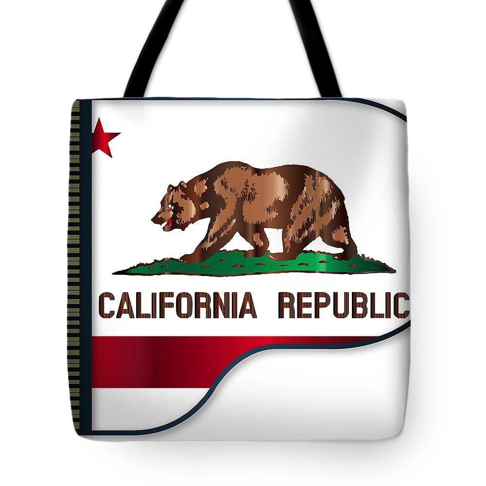 Grand Tote Bag featuring the digital art Grand Piano California Flag by Bigalbaloo Stock