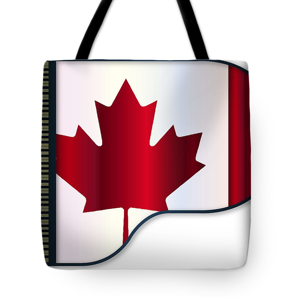 Grand Tote Bag featuring the digital art Grand Piano Canadian Flag by Bigalbaloo Stock