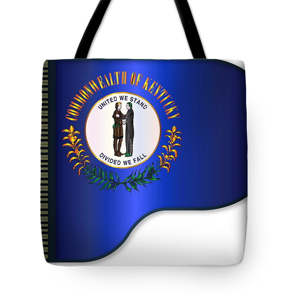 Grand Tote Bag featuring the digital art Grand Piano Kentucky Flag by Bigalbaloo Stock