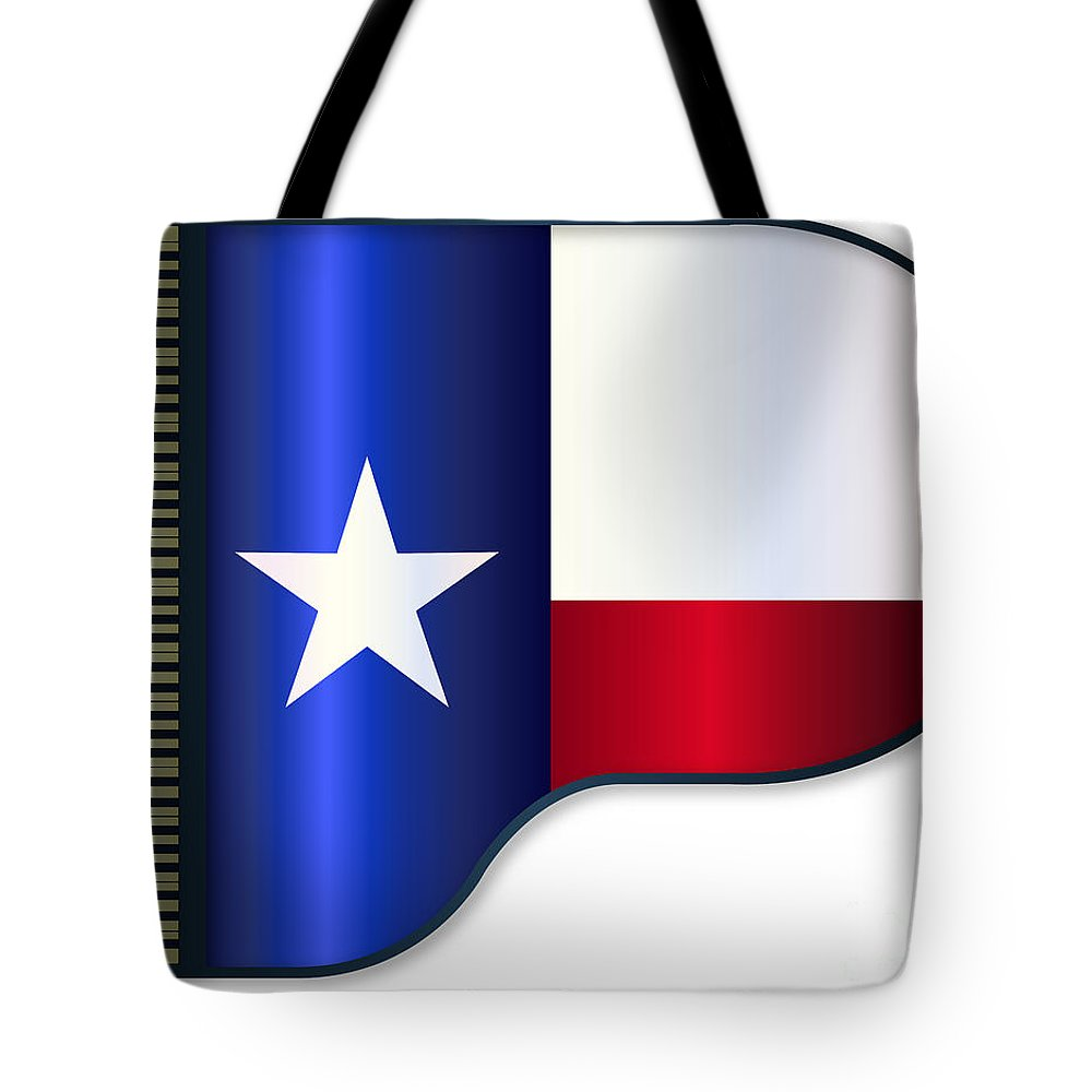 Grand Tote Bag featuring the digital art Grand Piano Texas Flag by Bigalbaloo Stock