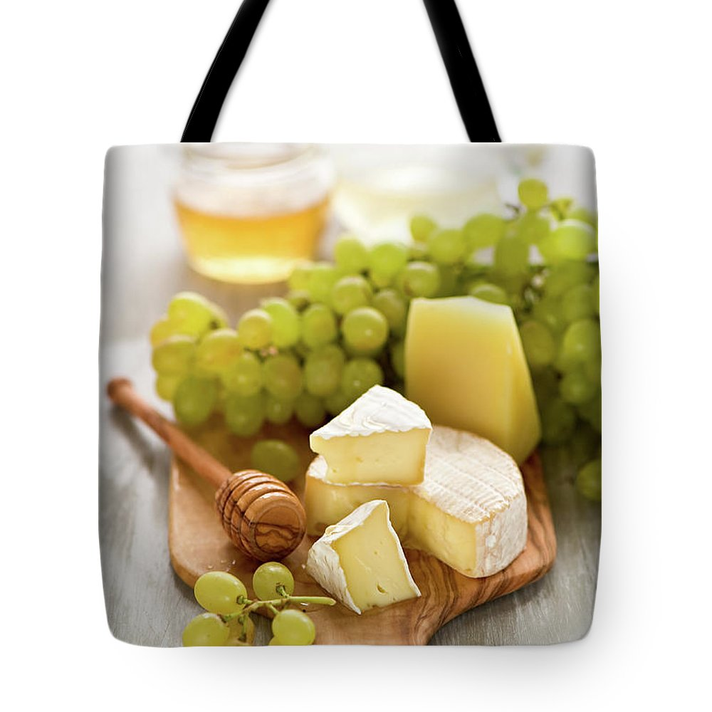 Cheese Tote Bag featuring the photograph Grape, Honey And Cheese by Verdina Anna