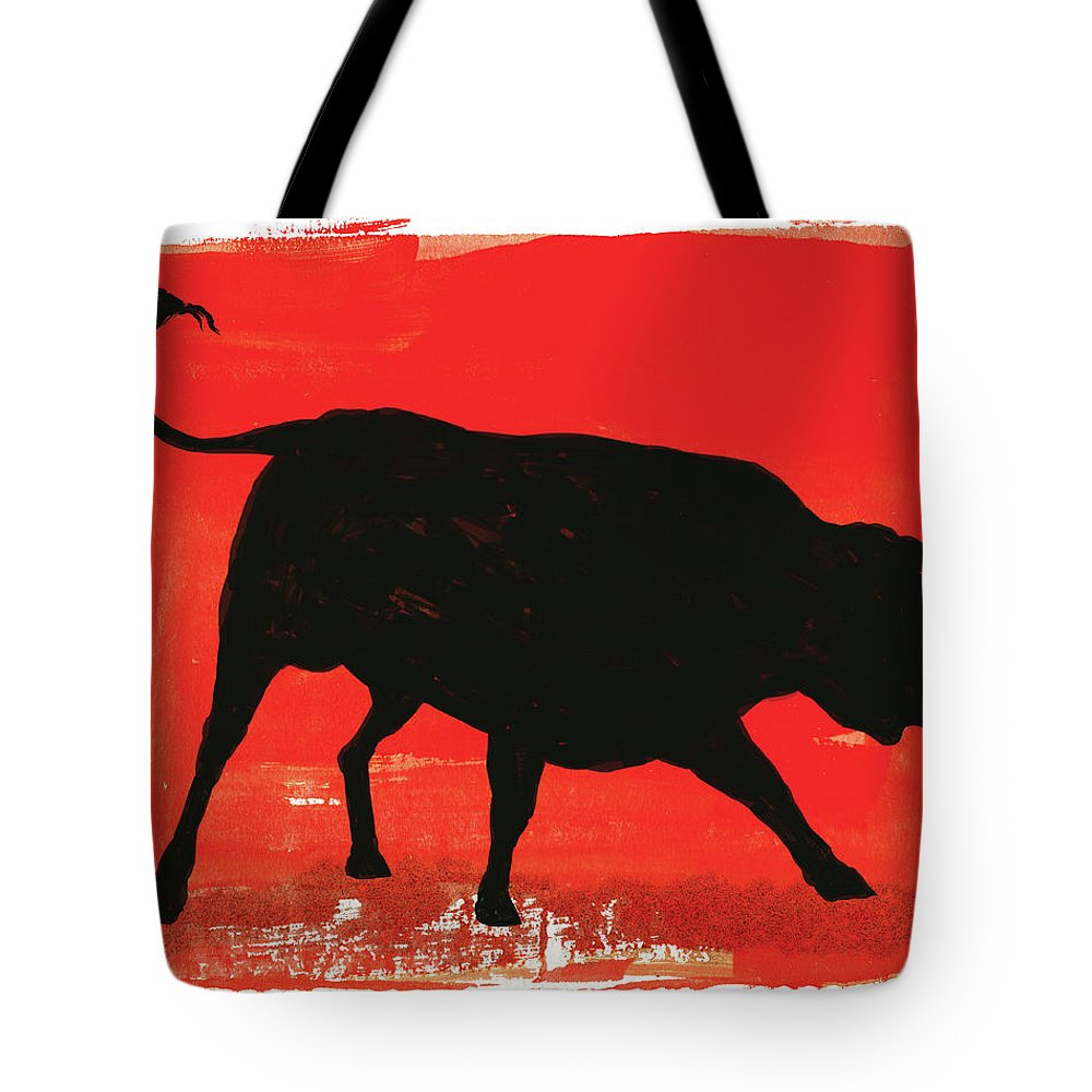 Bull Market Tote Bag featuring the digital art Graphic Bull Illustration by Don Bishop