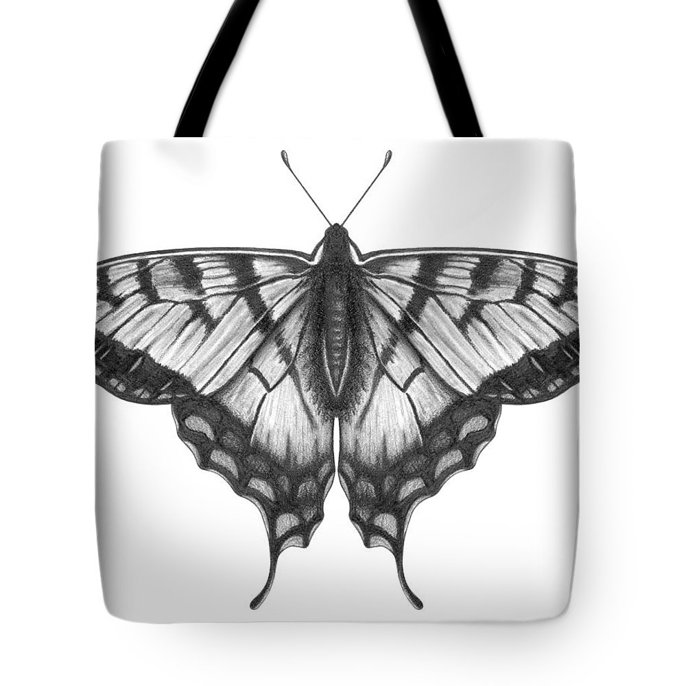 Art Tote Bag featuring the digital art Graphite Illustration Of A Beautiful by Ranplett