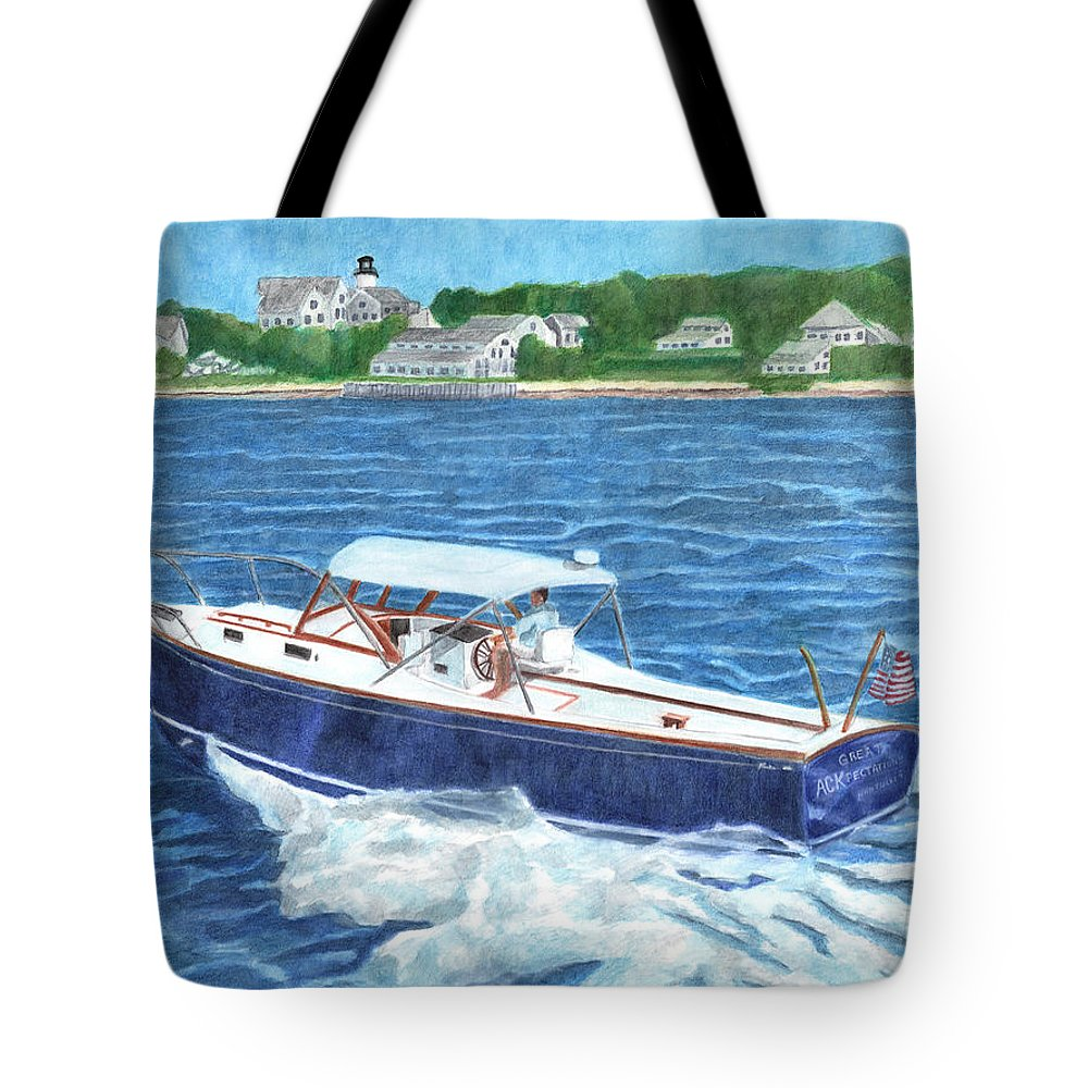 Boat Tote Bag featuring the painting Great Ackpectations Nantucket by Dominic White