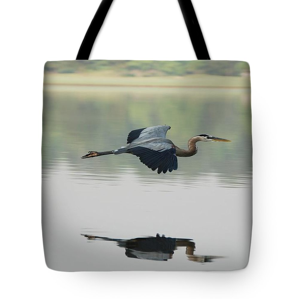 Animal Themes Tote Bag featuring the photograph Great Blue Heron In Flight by Photo By Hannu & Hannele, Kingwood, Tx