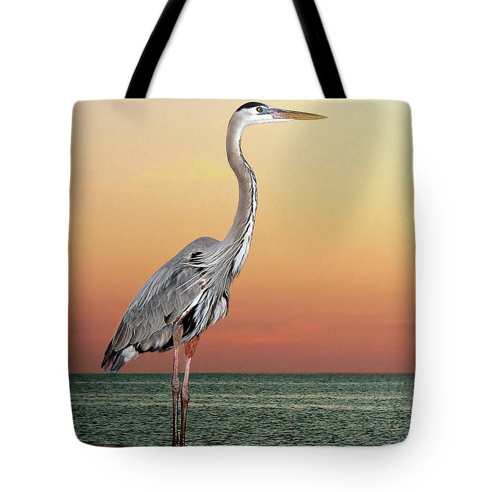 Scenics Tote Bag featuring the photograph Great Blue Heron In Seaside Sunset by Melinda Moore