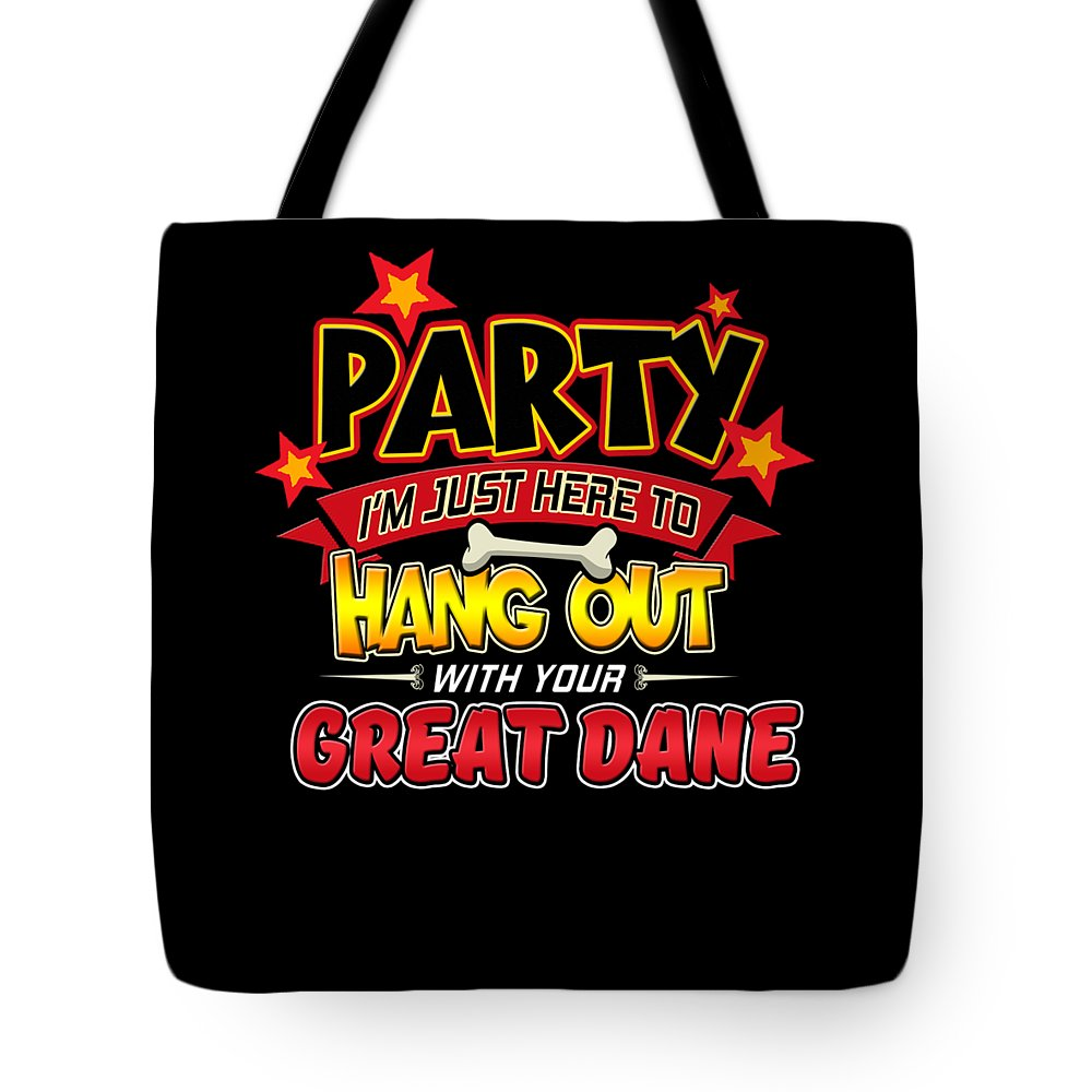 Artistic-dog Tote Bag featuring the digital art Great Dane Dog Party by Passion Loft
