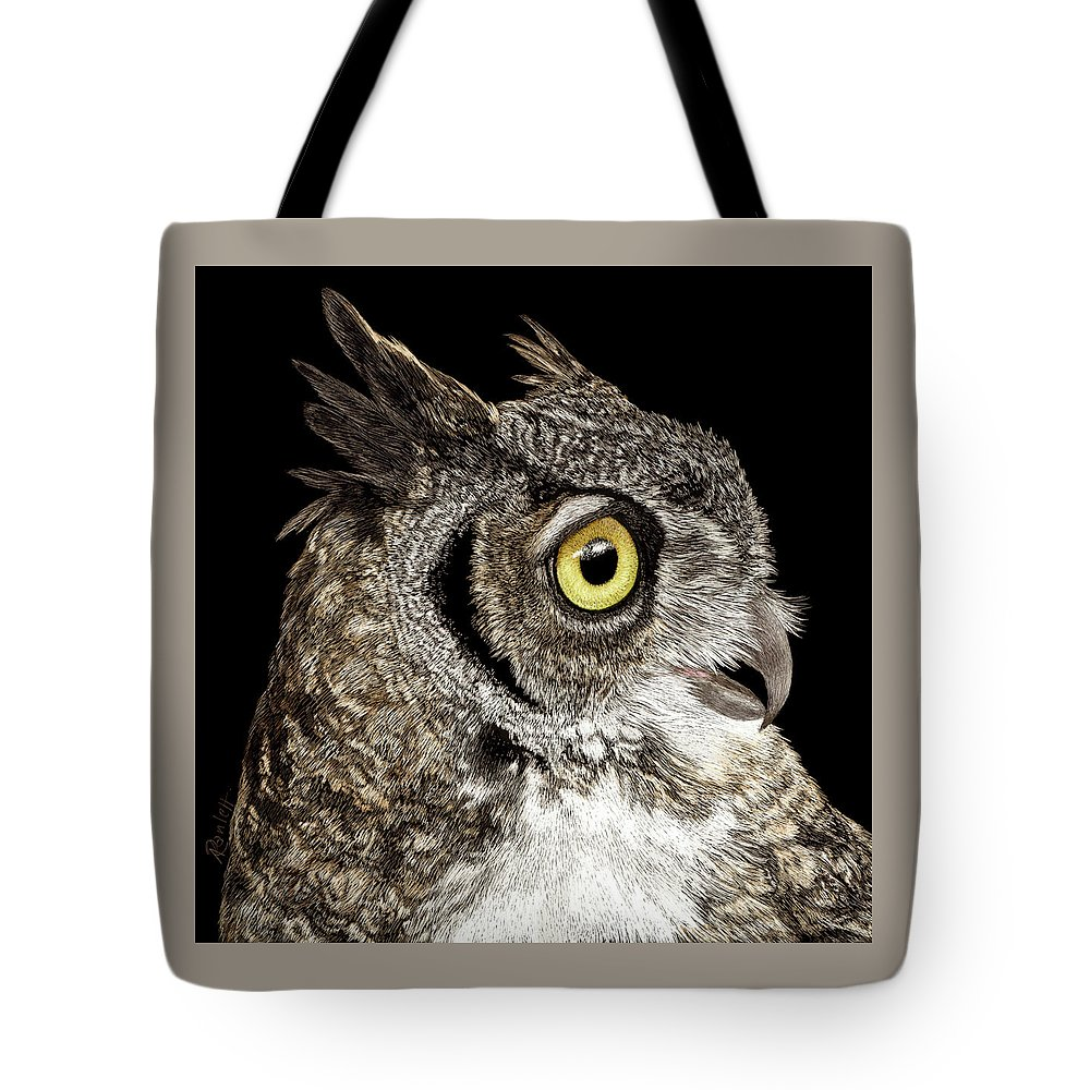 Owl Tote Bag featuring the drawing Great-horned Owl by Ann Ranlett