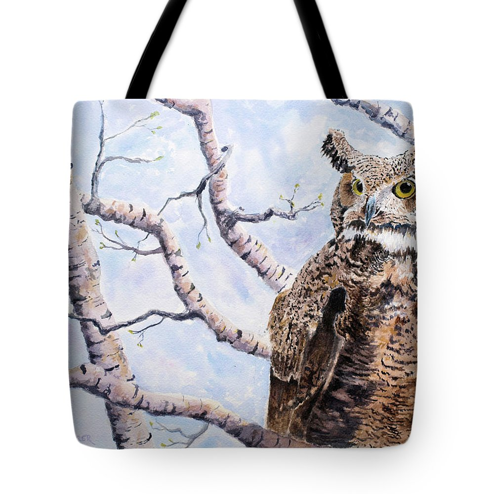Owl Tote Bag featuring the painting Great Horned Owl by Stephen S Yaeger