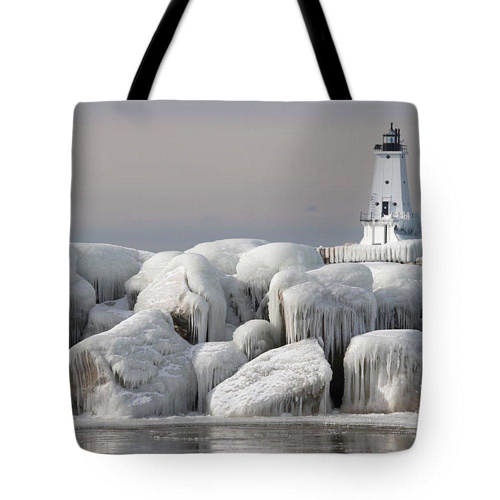 Water's Edge Tote Bag featuring the photograph Great Lakes Lighthouse With Ice Covered by Jskiba