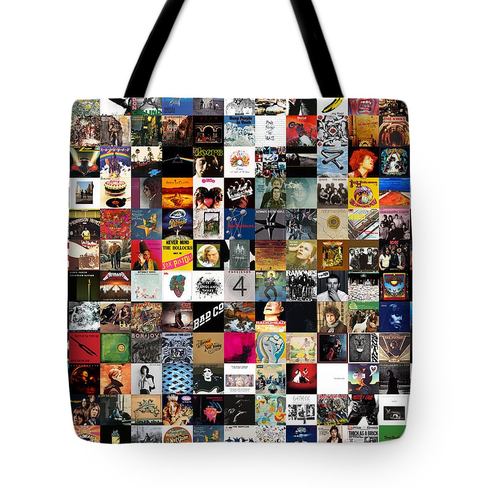 Album Covers Tote Bag featuring the digital art Greatest Rock Albums of All Time by Zapista OU