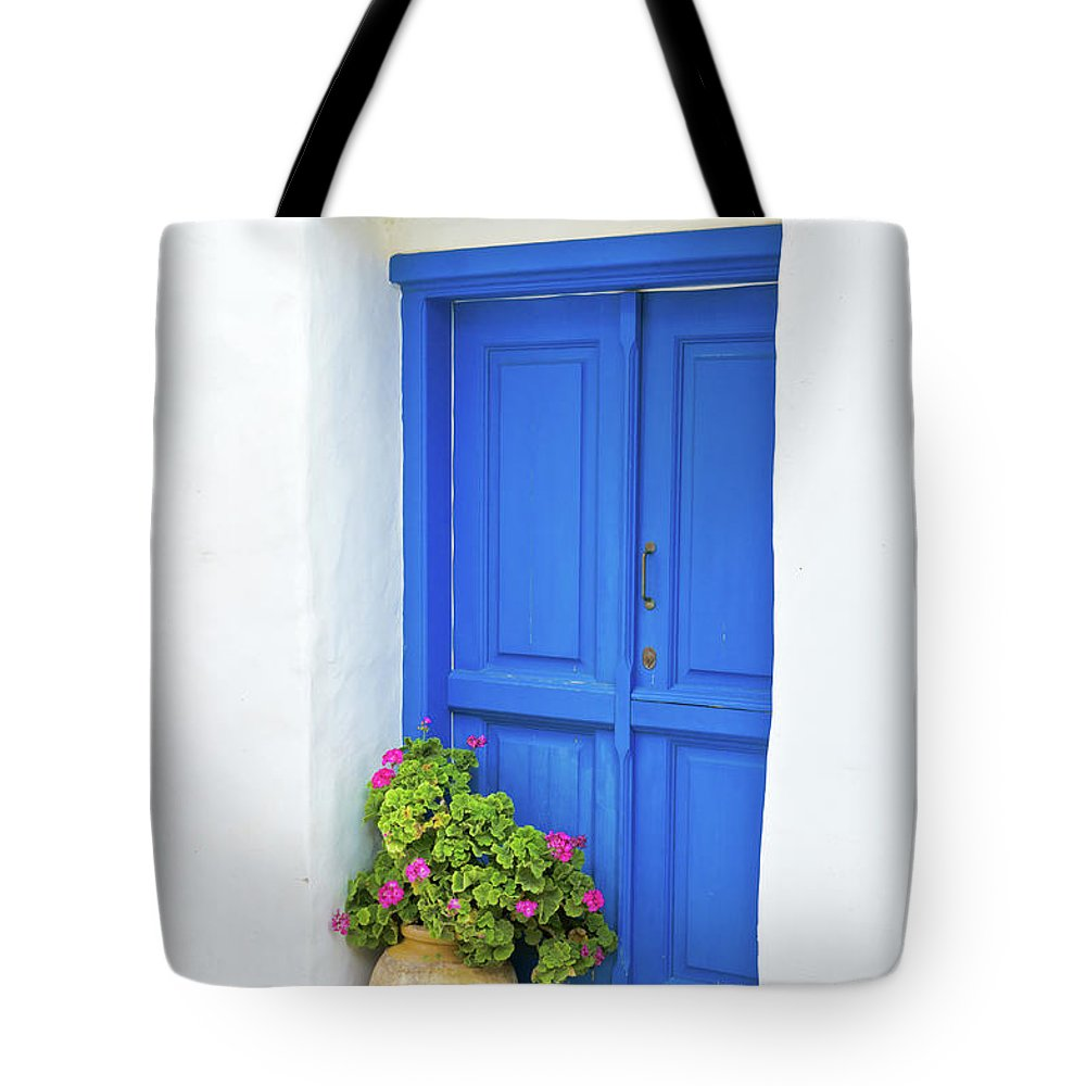 Greek Culture Tote Bag featuring the photograph Greek Island Doorway by Abzee