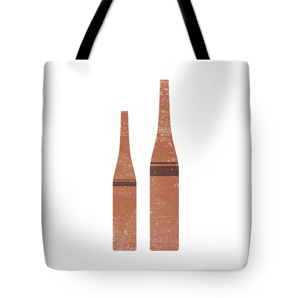 Abstract Tote Bag featuring the mixed media Greek Pottery 28 - Tall Vases - Terracotta Series - Modern, Contemporary, Minimal Abstract - Brown by Studio Grafiikka