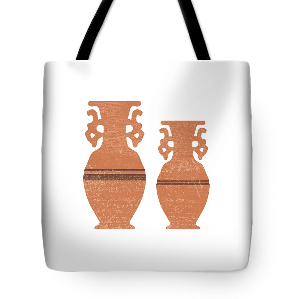 Abstract Tote Bag featuring the mixed media Greek Pottery 37 - Amphorae - Terracotta Series - Modern, Contemporary, Minimal Abstract - Sienna by Studio Grafiikka