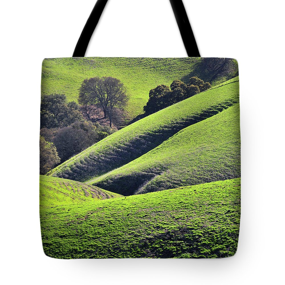 Scenics Tote Bag featuring the photograph Green Rolling Hills Of Central by Mitch Diamond