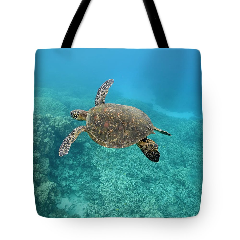 Underwater Tote Bag featuring the photograph Green Sea Turtle, Big Island, Hawaii by Paul Souders