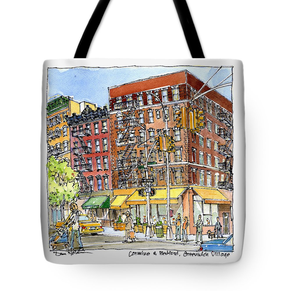 Greenwich Village Laundromat Watercolor. New York. New York City. Nyc. New York Watercolor. New York City Watercolor. Nyc Watercolor. Tote Bag featuring the painting Greenwich Village Laundromat by Dan Nelson