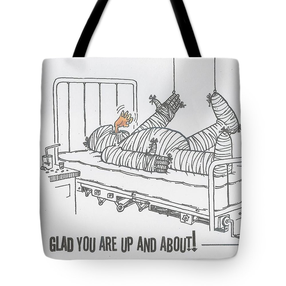 Don Martin Funny Get Well Card Tote Bag featuring the drawing Greeting Card Get Well-all Wrapped Up by Don Martin