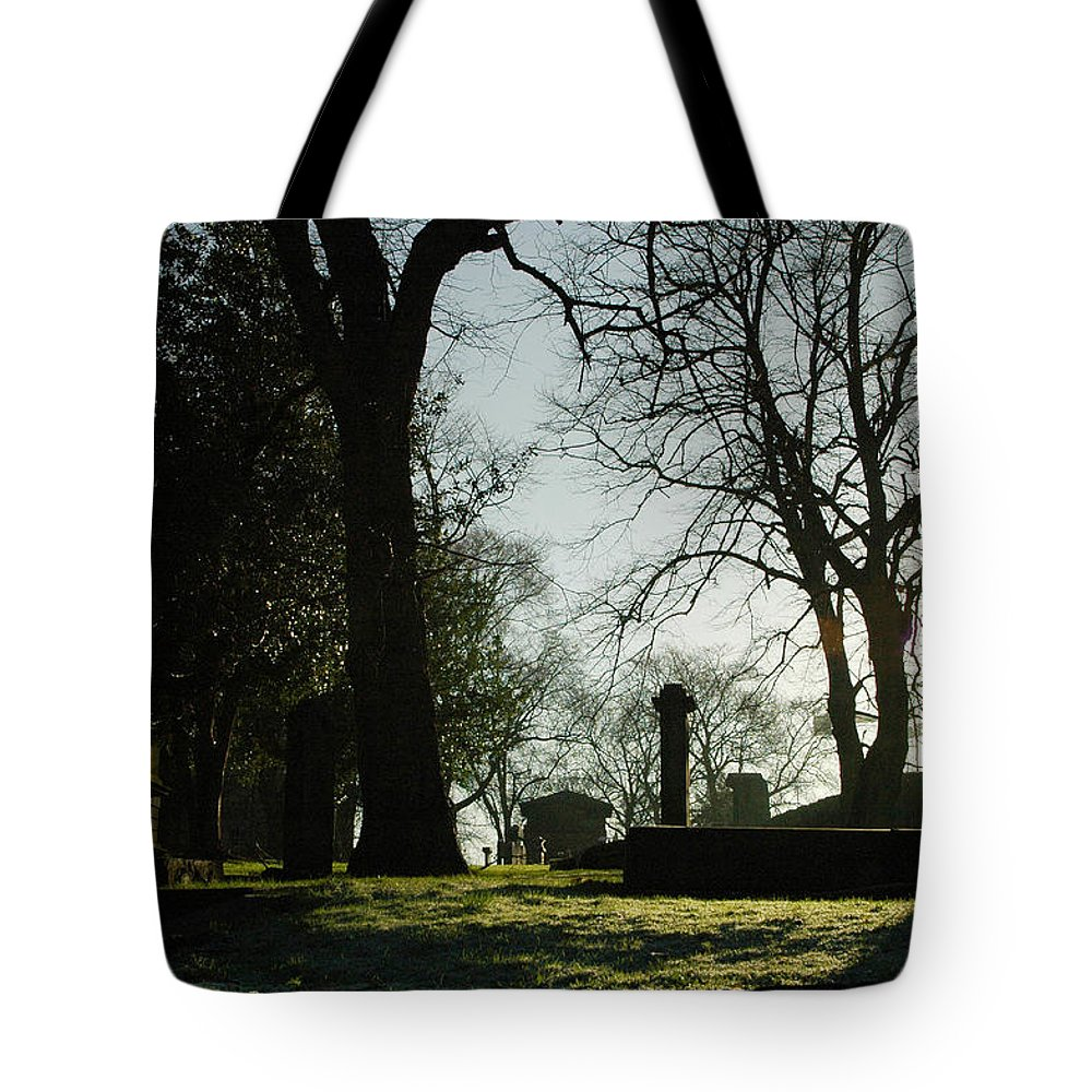Graveyard Tote Bag featuring the photograph Greyfriars Churchyard In Winters Sun by Victor Lord Denovan