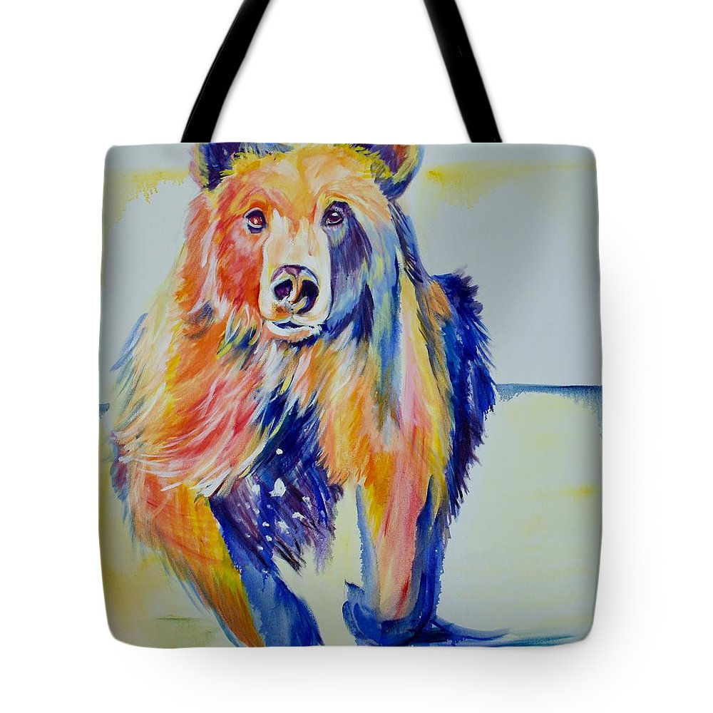 Original Tote Bag featuring the painting Grizzly Sprint by Nickie Perrin Paintings
