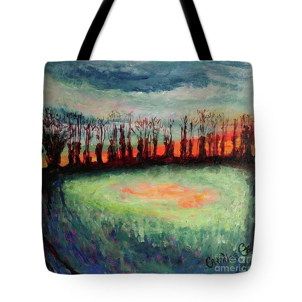 Trees Tote Bag featuring the painting Guardians by Caroline Cunningham