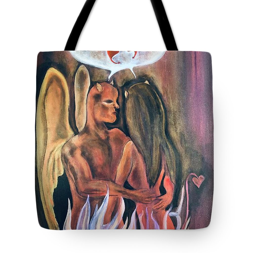 Devil Tote Bag featuring the painting Guilty Pleasures by Ron Tango Jr