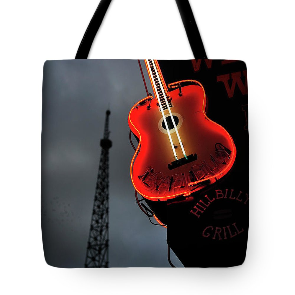 Outdoors Tote Bag featuring the photograph Guitar With Nashville by James Atkinson Photography
