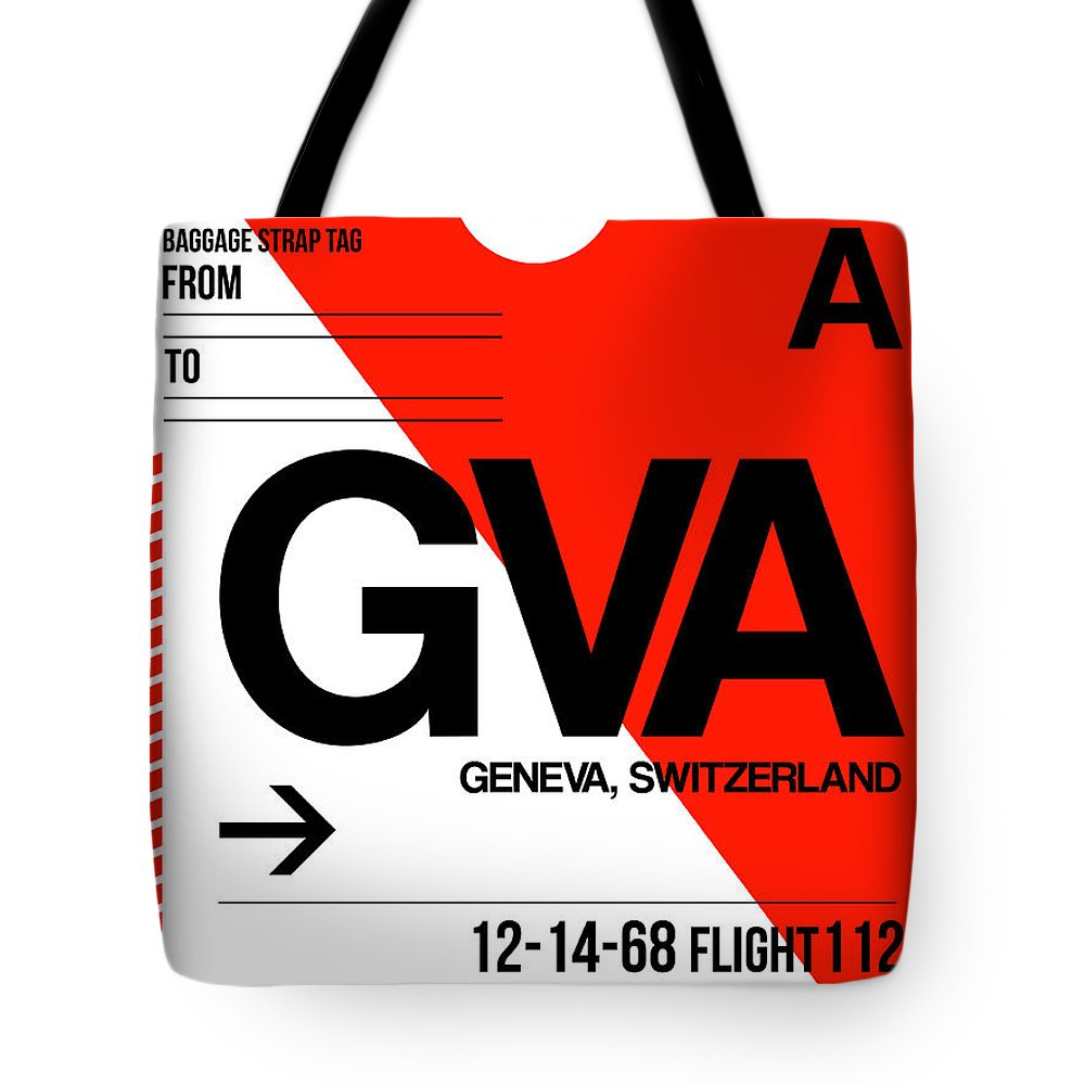 Vacation Tote Bag featuring the digital art Gva Geneva Luggage Tag I by Naxart Studio